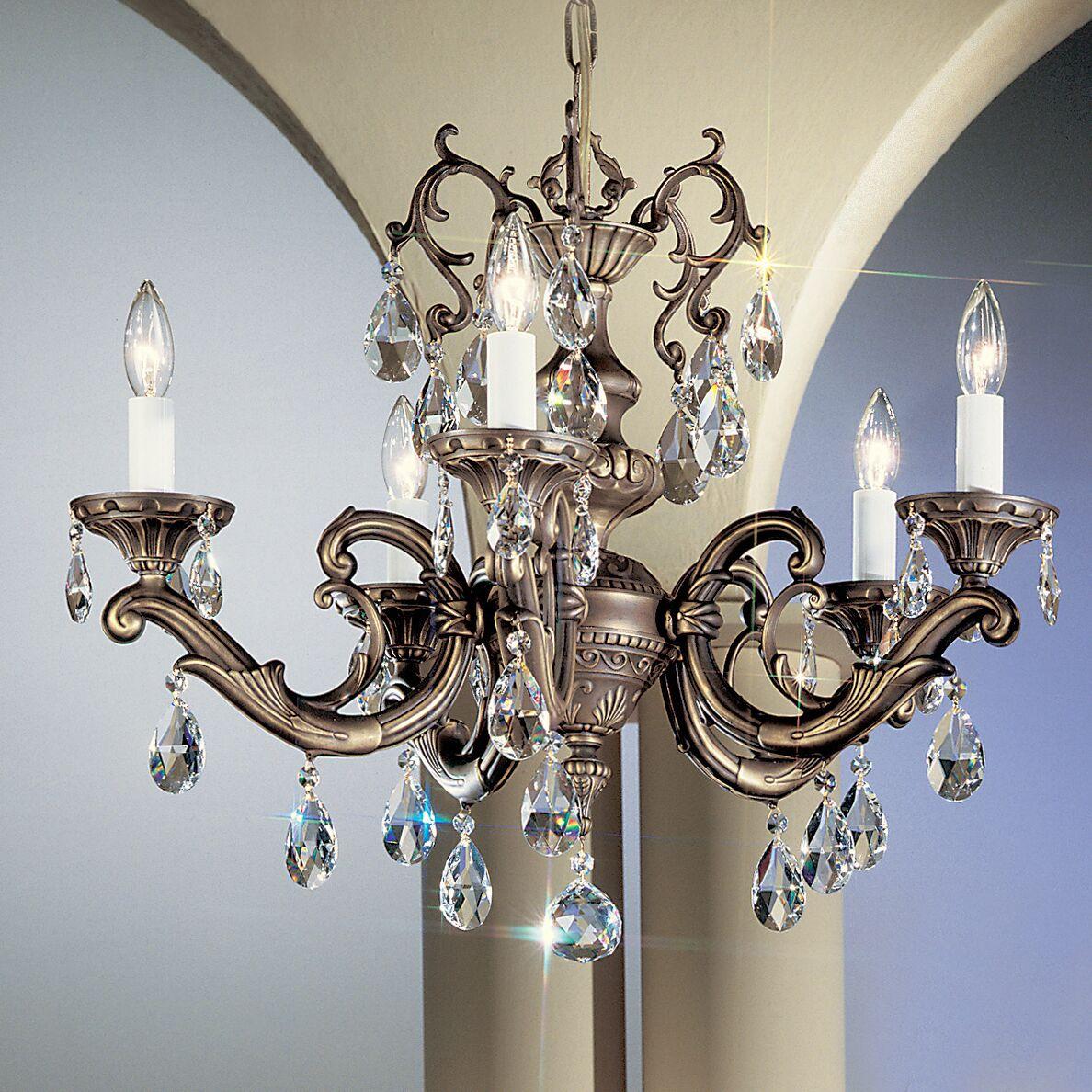 Princeton II 5-Light Candle Style Chandelier Finish: Millenium Silver, Crystal Type: Swarovski Elements