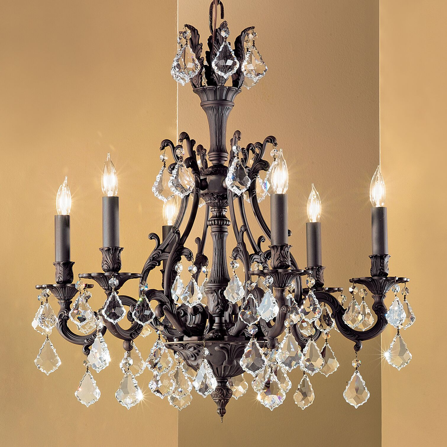Majestic 6-Light Candle Style Chandelier Crystal Type: Swarovski Elements Golden Teak, Finish: Aged Bronze