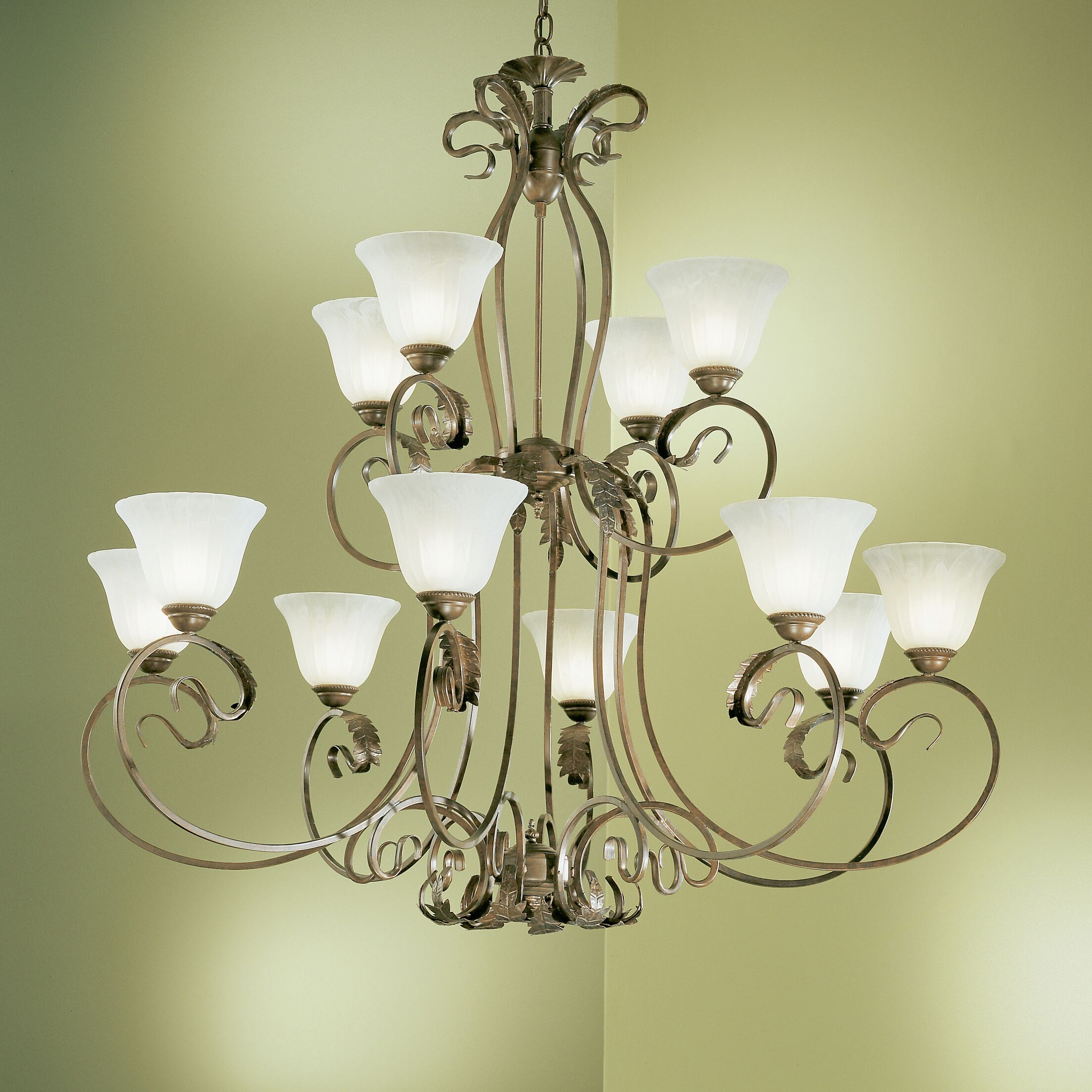 Manilla 12-Light Shaded Chandelier Finish: English Bronze, Glass Color: White Alabaster Glass