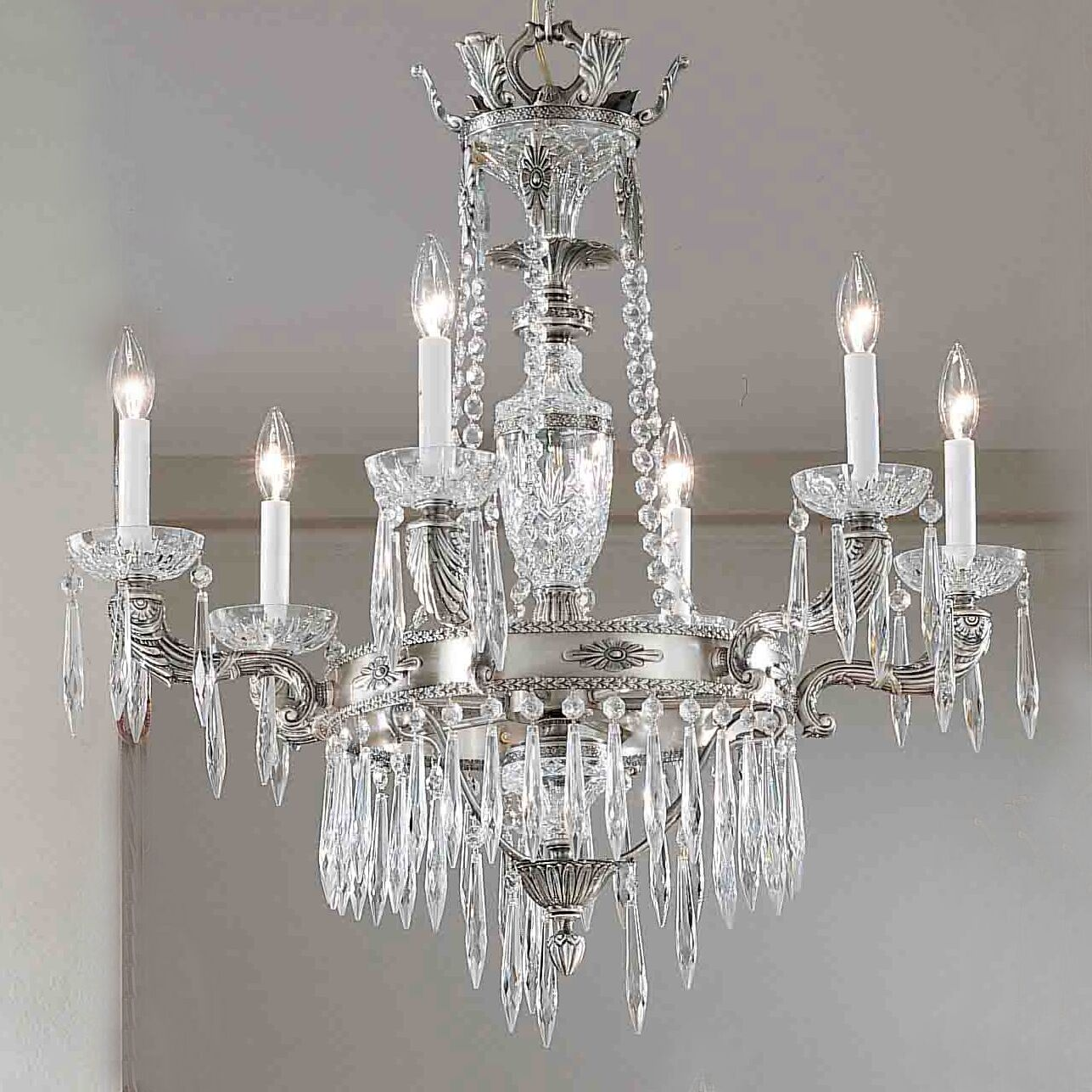 Duchess 6-Light Candle Style Chandelier Finish: Aged Bronze, Crystal Type: Antique Italian