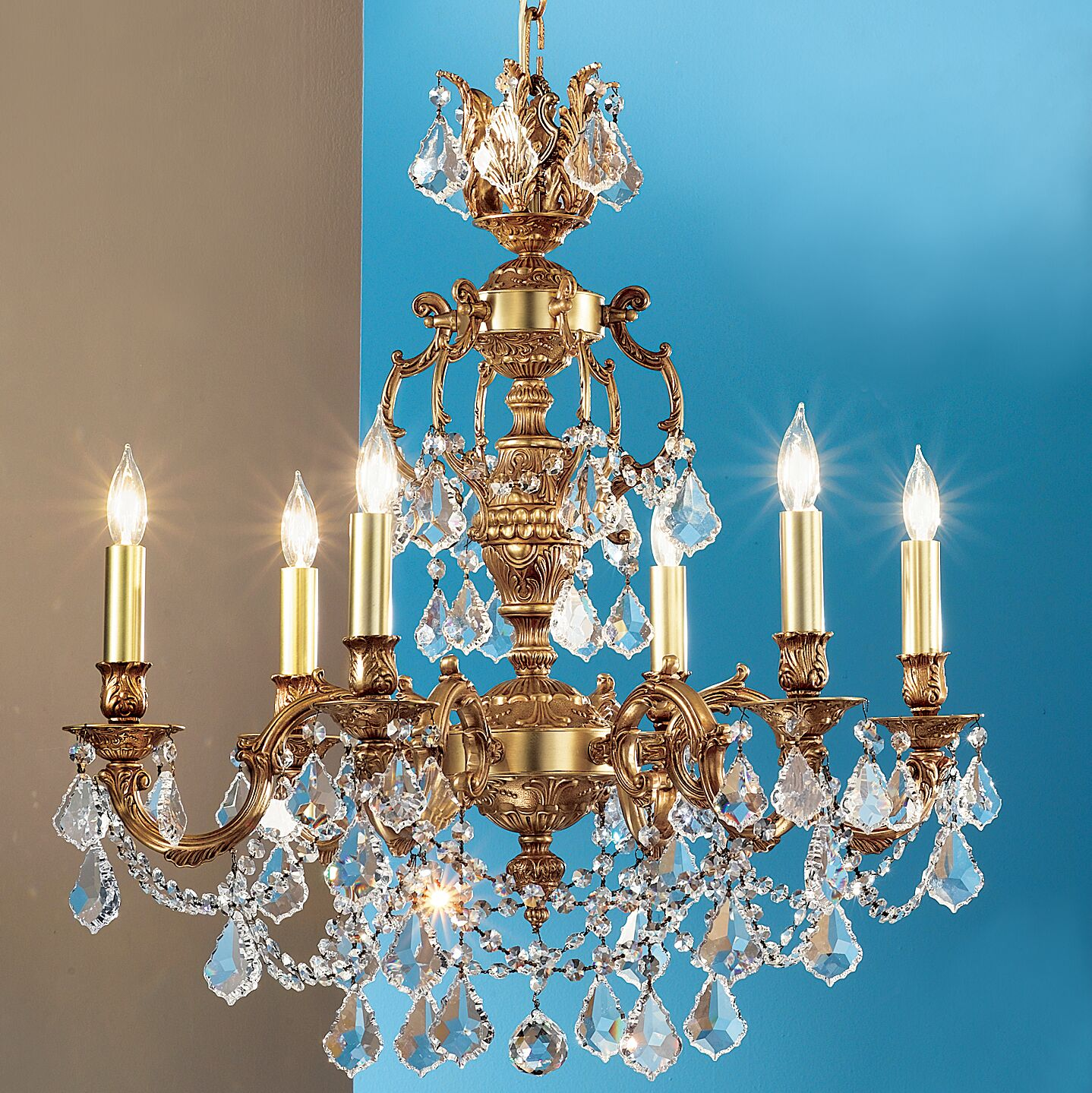 Chateau Imperial 6-Light Candle Style Chandelier Crystal Type: Swarovski Spectra, Finish: French Gold
