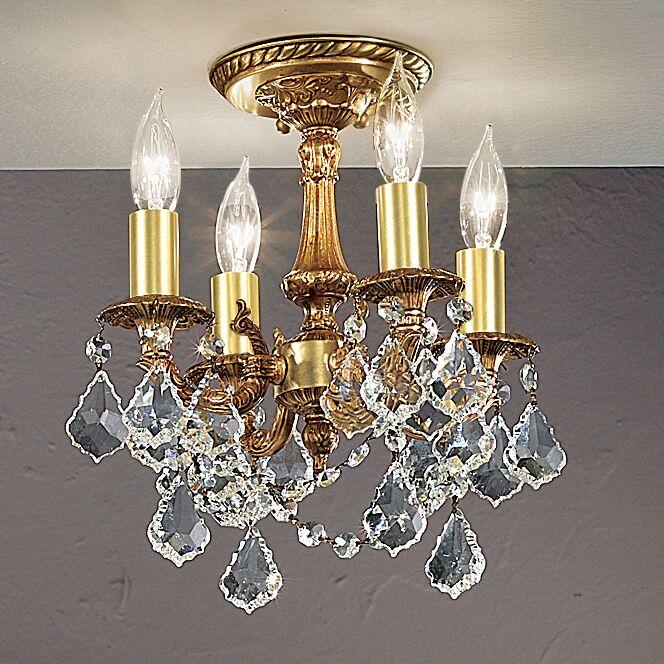 Majestic Imperial 4-Light Semi-Flush Mount Crystal Type: Crystalique Golden Teak, Finish: French Gold