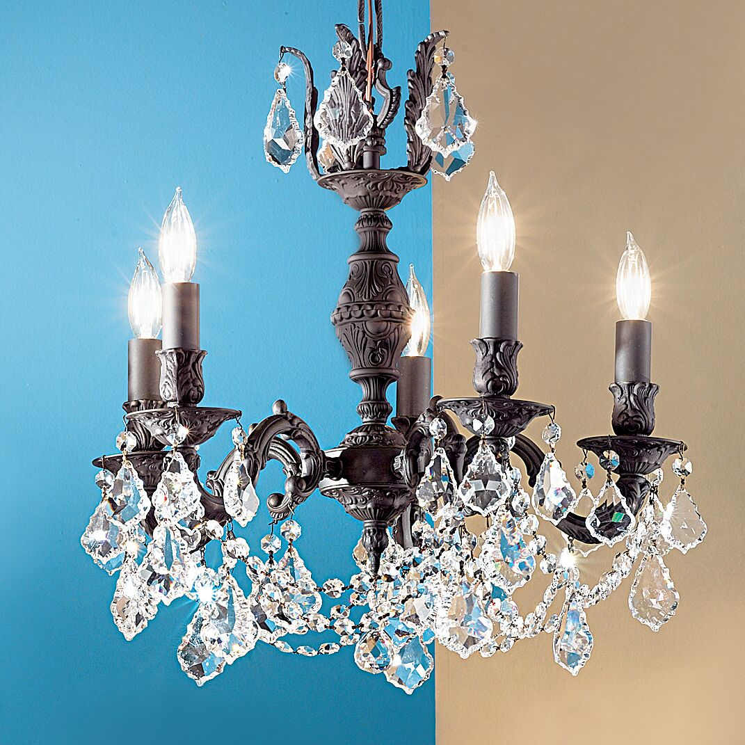Chateau Imperial 5-Light Candle Style Chandelier Crystal Type: Swarovski Elements, Finish: Aged Pewter