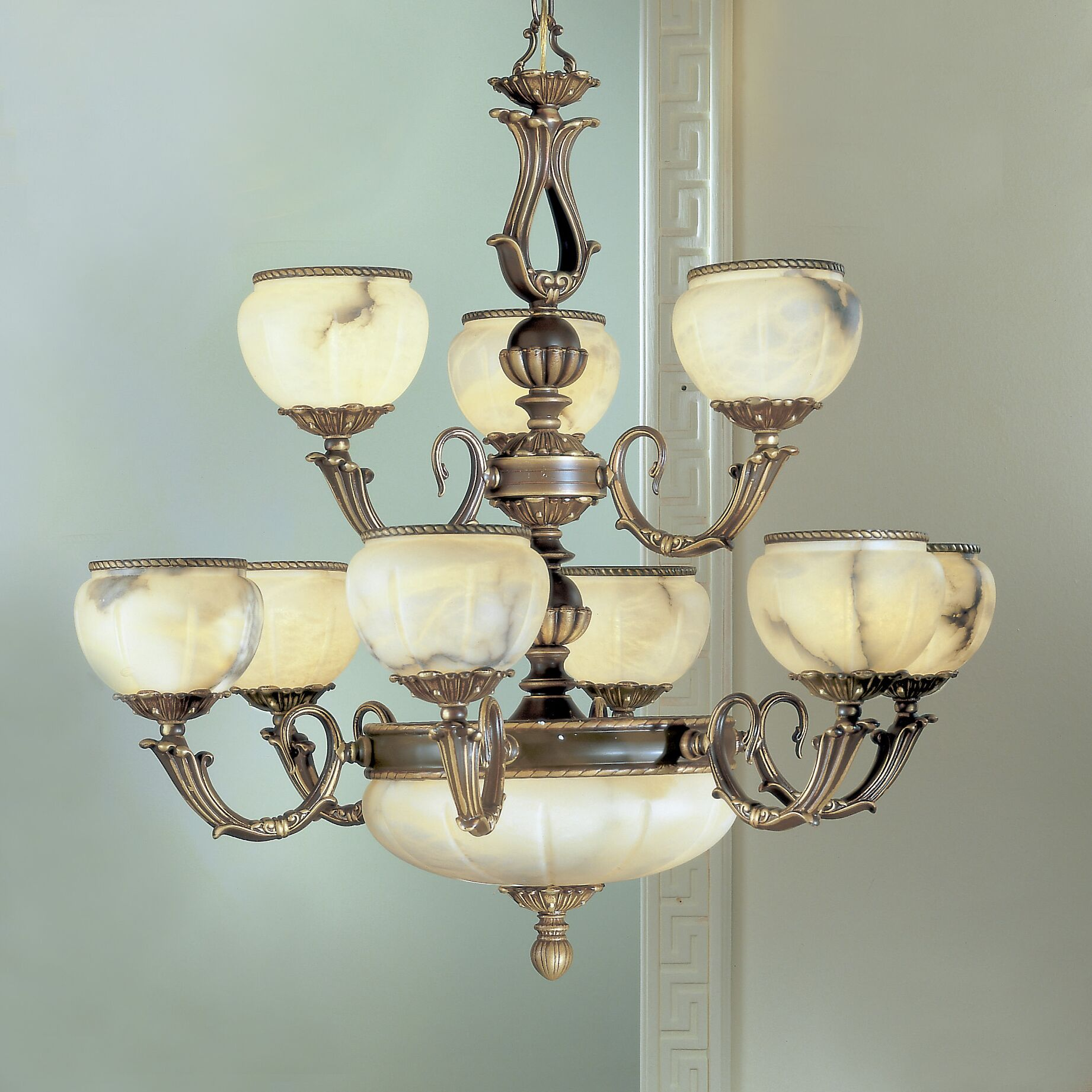 Alexandria I 12-Light Shaded Chandelier Finish: Satin Bronze with Brown Patina, Crystal Type: Crystalique