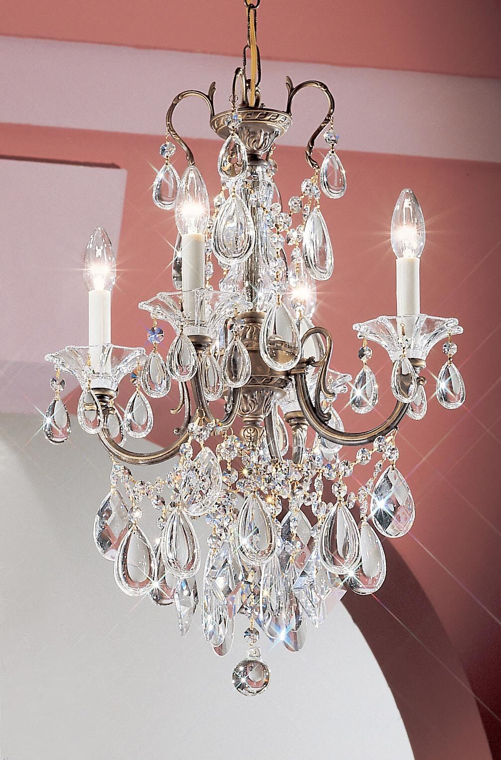 Via Venteo 4-Light Candle Style Chandelier Crystal Type: Crystalique, Finish: Silverstone