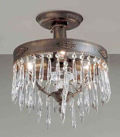 Duchess 3-Light Semi-Flush Mount Crystal Type: Italian, Finish: Bronze with Black Patina