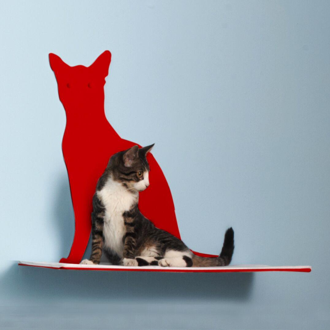 Silhouette Cat Perch Color: Red