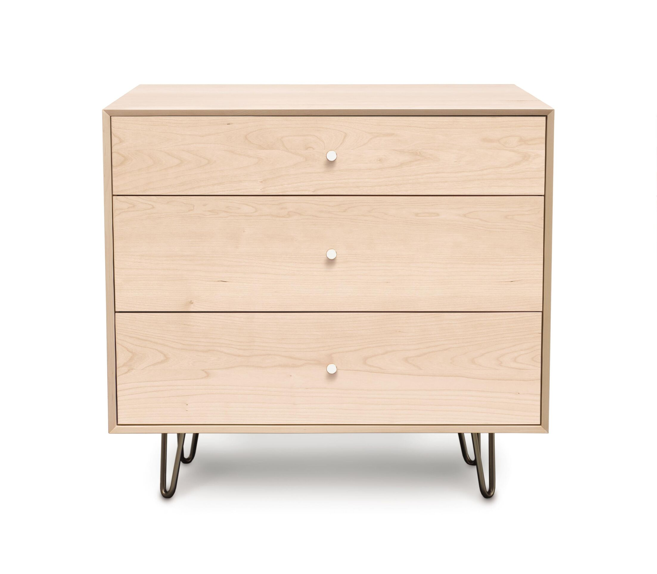 Canvas 3 Drawer Bachelor's Chest Color: Bright White Maple, Drawer Handle Design: Knob, Leg Material: Metal