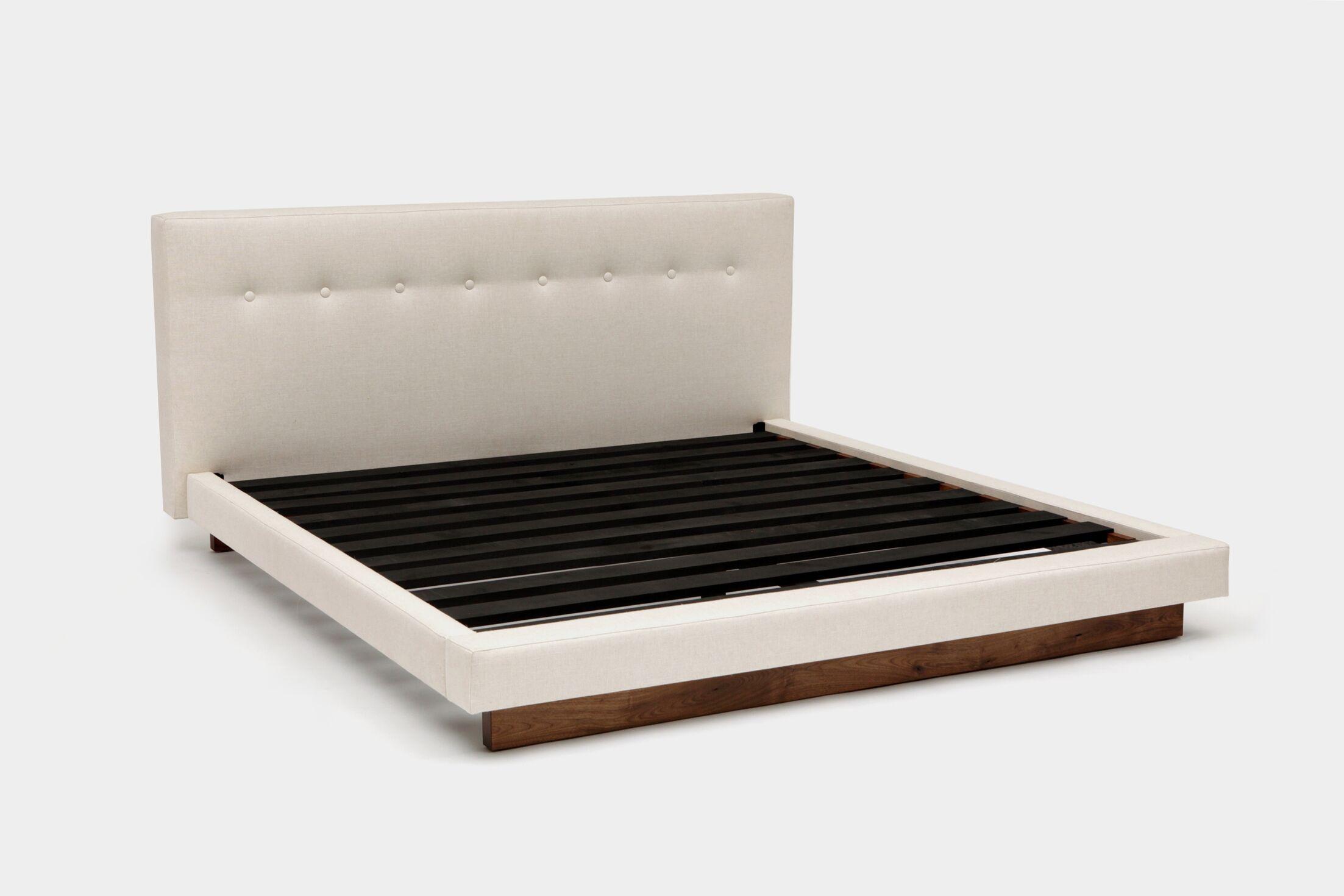 LRG Upholstered Platform Bed Size: Queen, Color: Creme Linen Blends