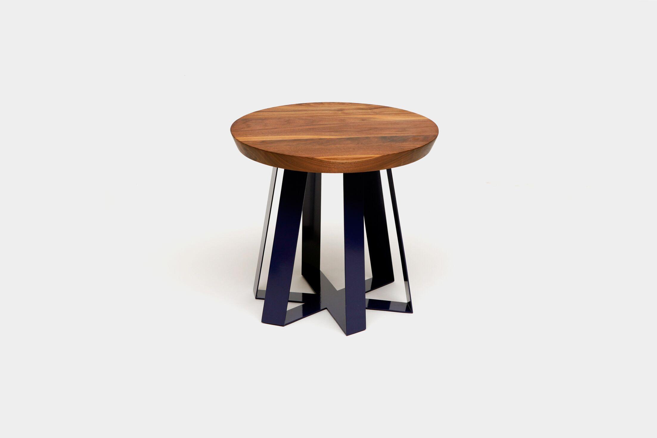 ARS End Table Top Color: Walnut, Base Color: Purple