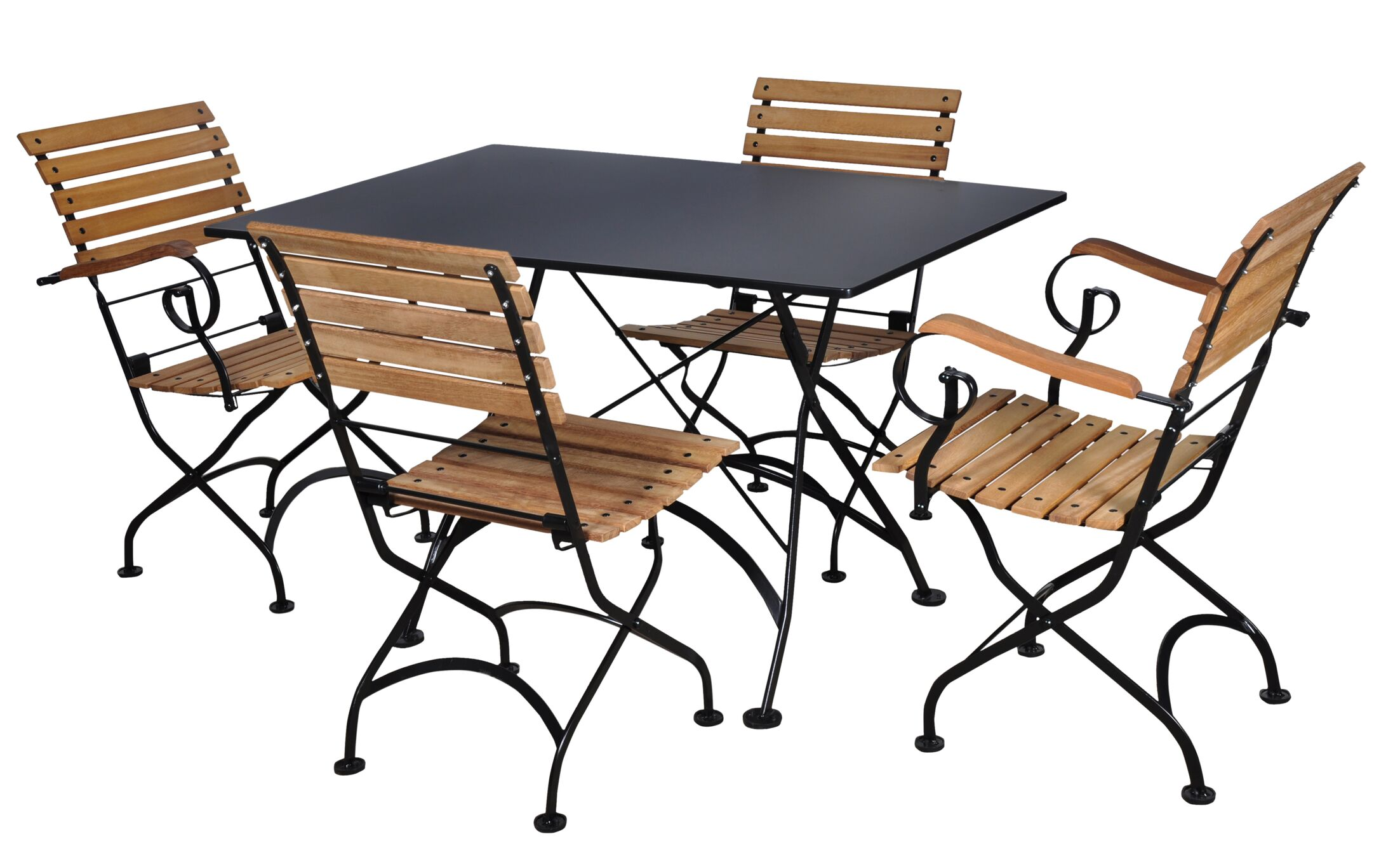Features: -Set includes 1 Dining table and 4 chairs.-European Caf� collection.-Rectangular steel metal top.-Extremely durable steel top offers a comfortable and secure dining surface.-Frame color: Jet Black.-Product Type: Dining Set.-Chair Outer Frame...