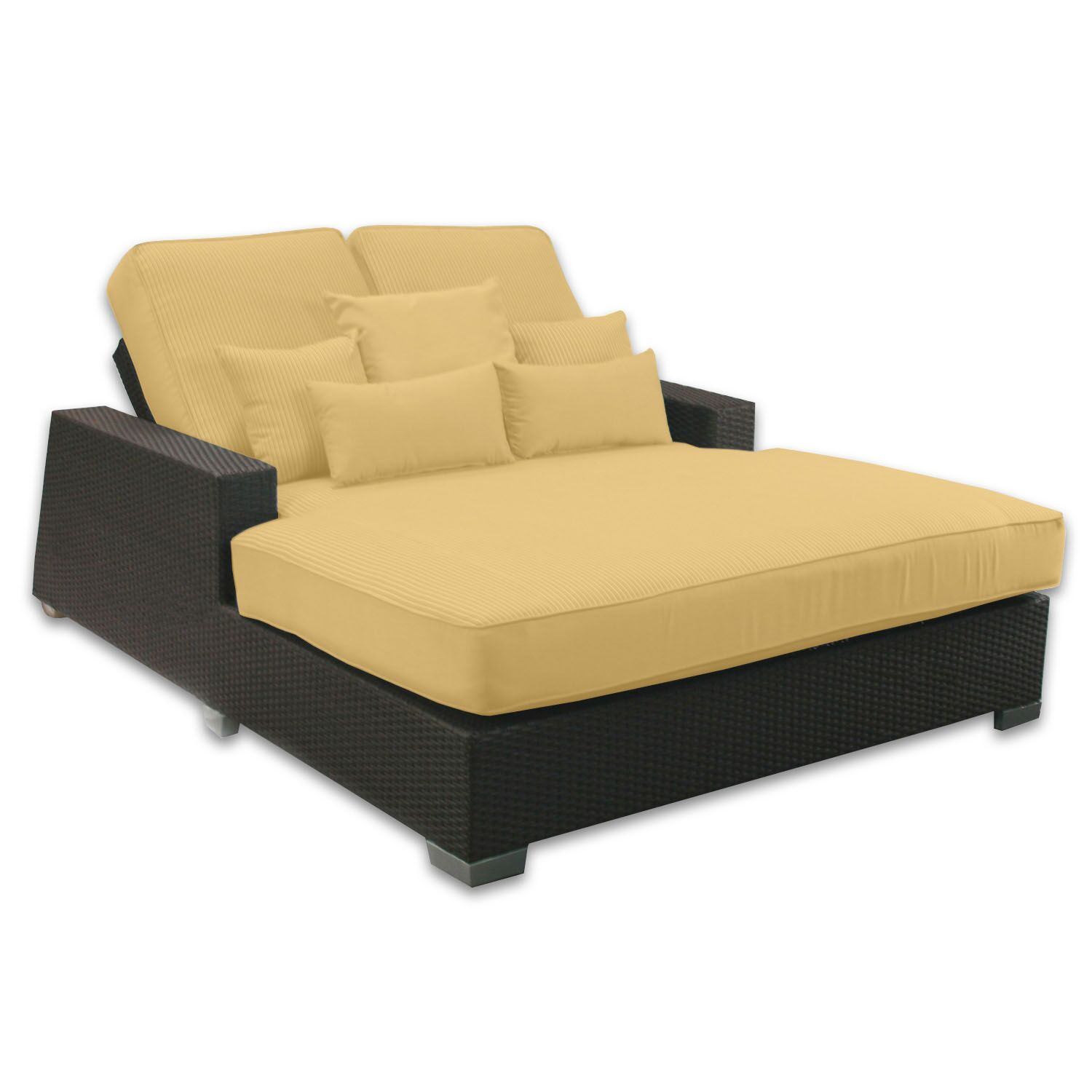 Signature Double Chaise Lounge with Cushion Fabric Color: Daffodil