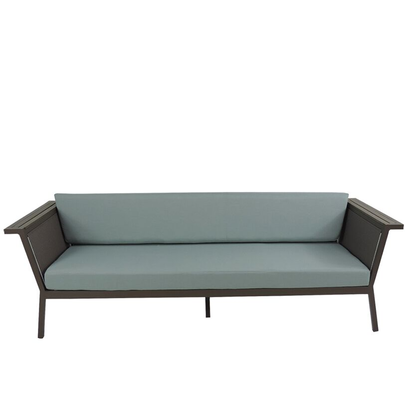 Marina Geo Sofa with Cushions Fabric: Red, Finish: Gray