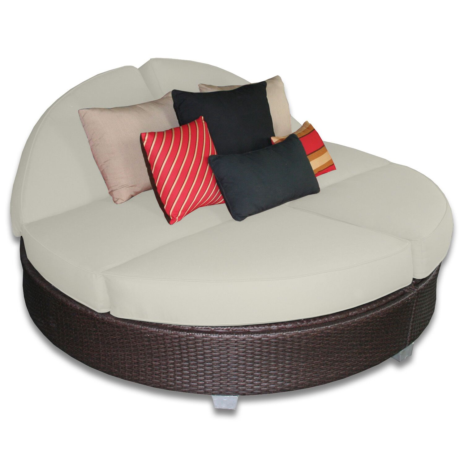 Signature Round Double Chaise Lounge Fabric Color: Eggshell