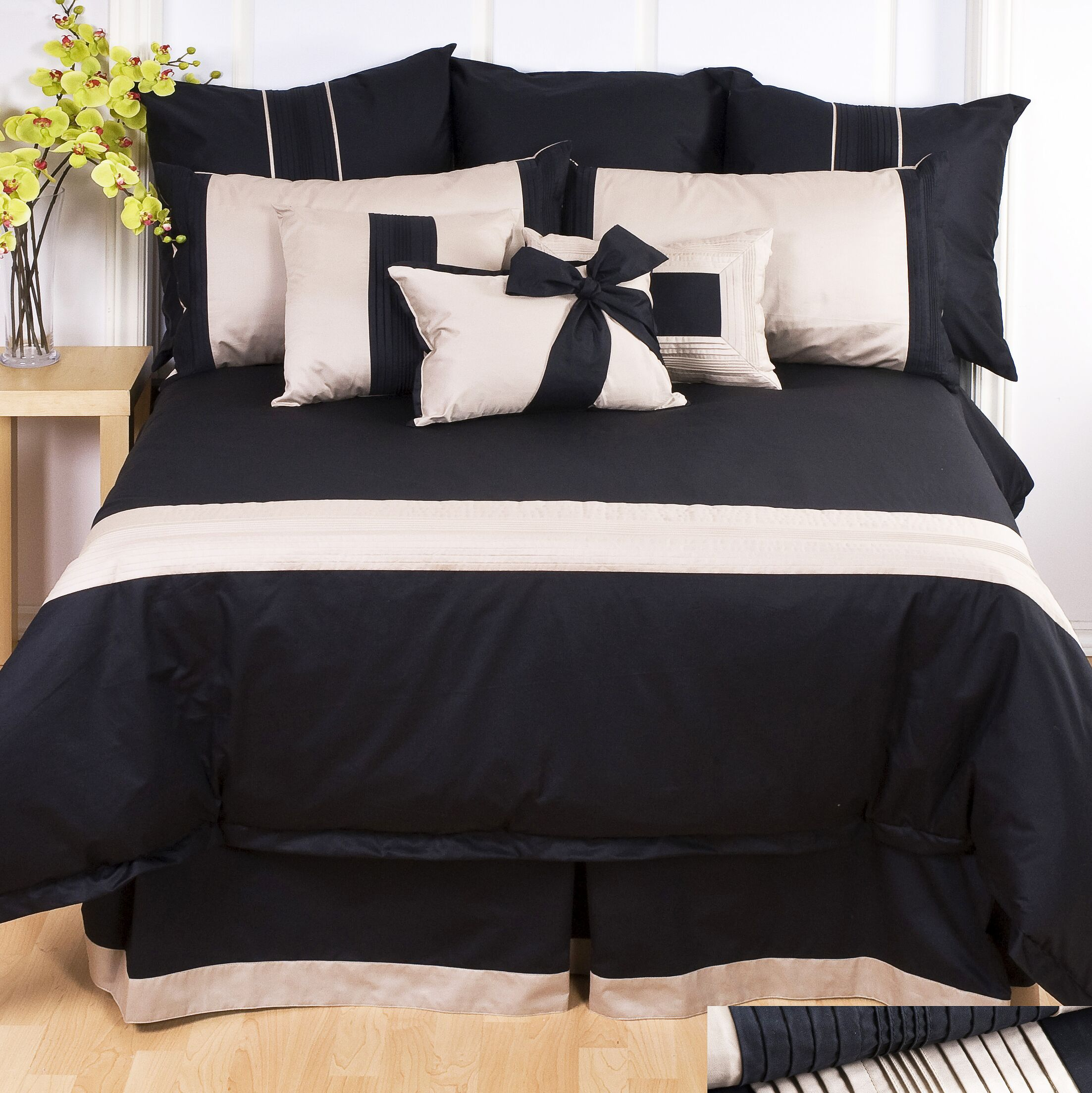 Tux Black Sheet Set Size: King, Color: Pewter with Black Band