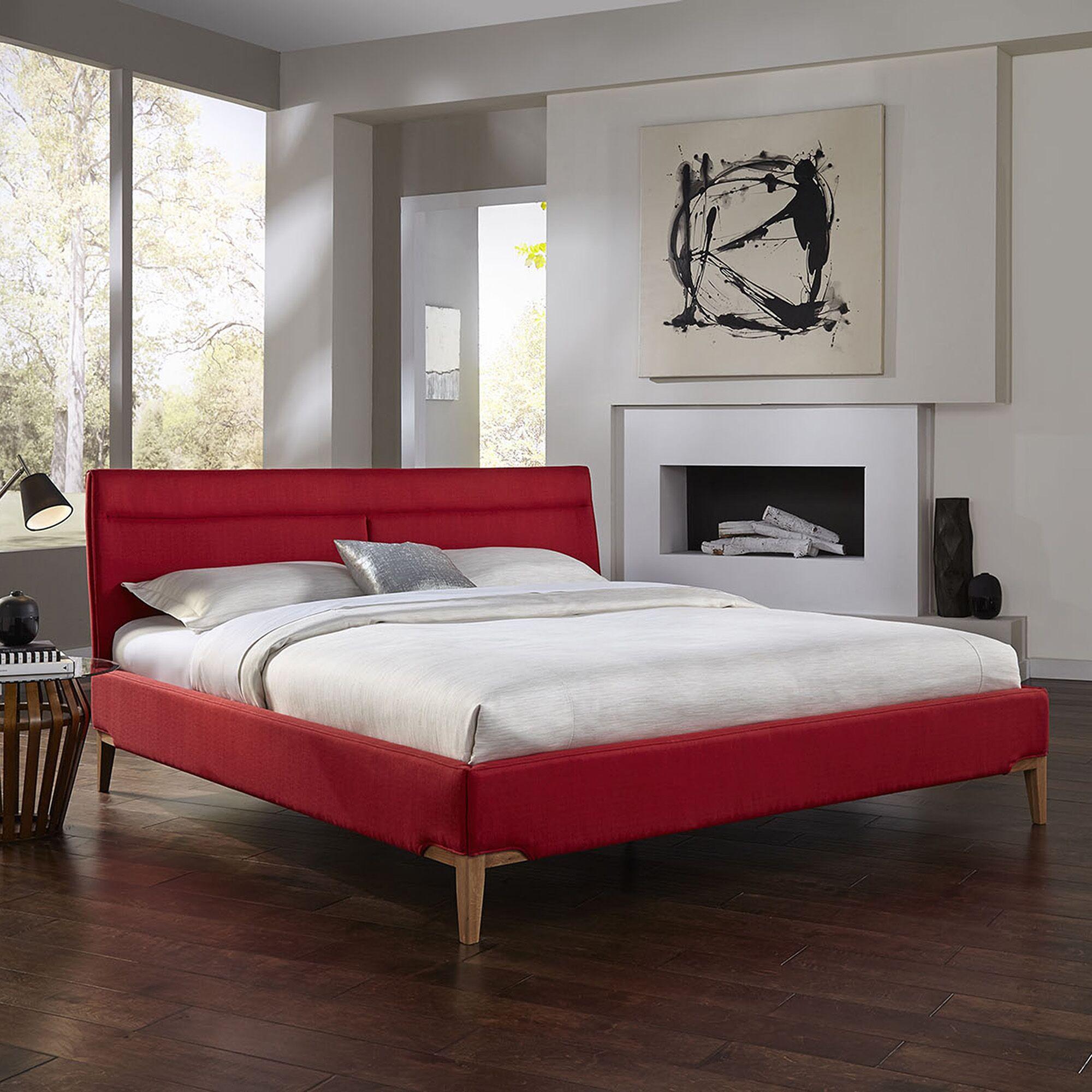 Leonide Upholstered Platform Bed Color: Crimson, Size: King