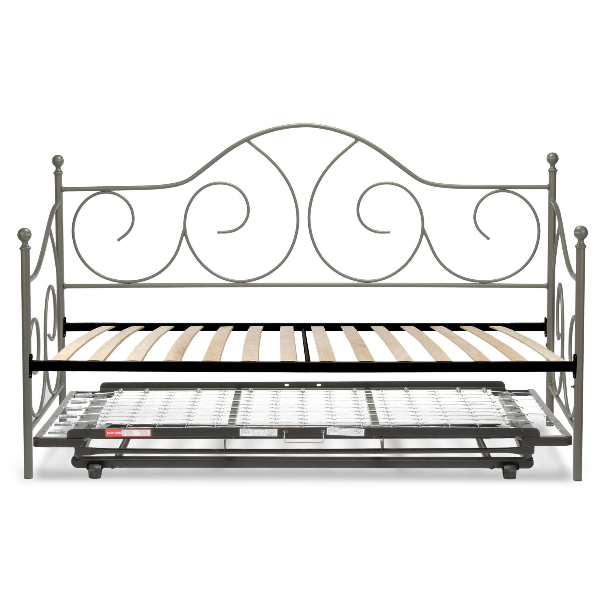 Steelton Metal Daybed Finish: Matte Gray Flint, Accessories: Trundle Included
