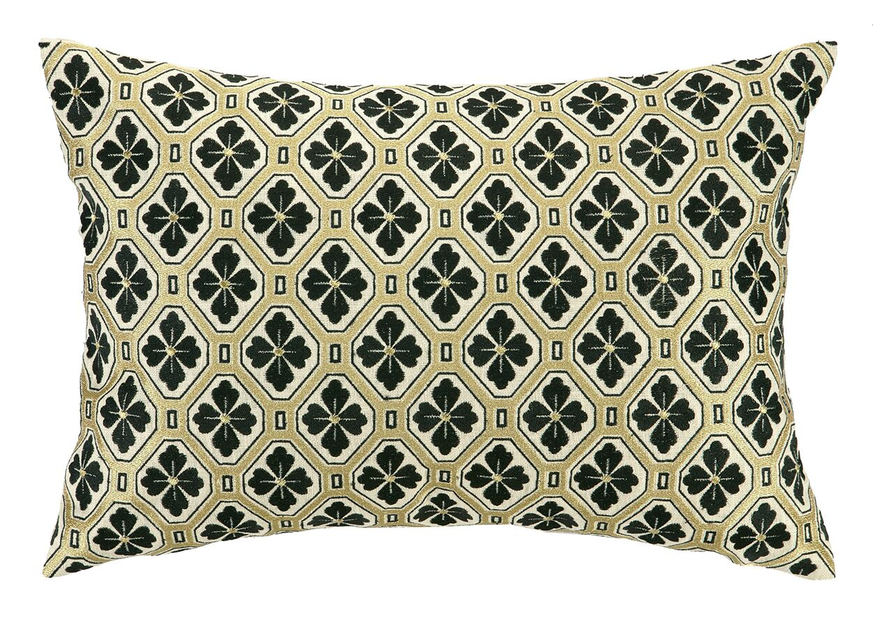 Tulipe Noire Embroidered Decorative Linen Lumbar Pillow