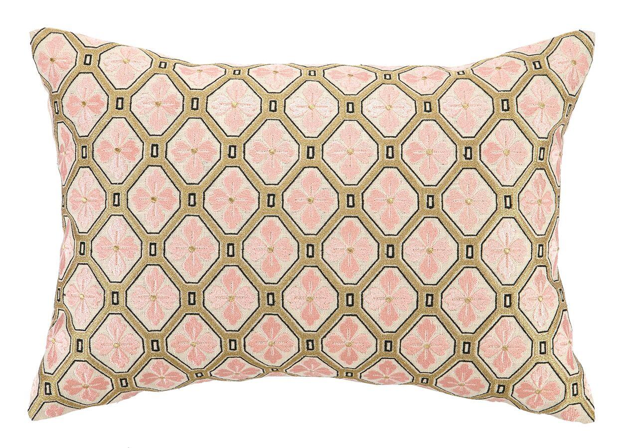 Tulipe Embroidered Decorative Linen Lumbar Pillow