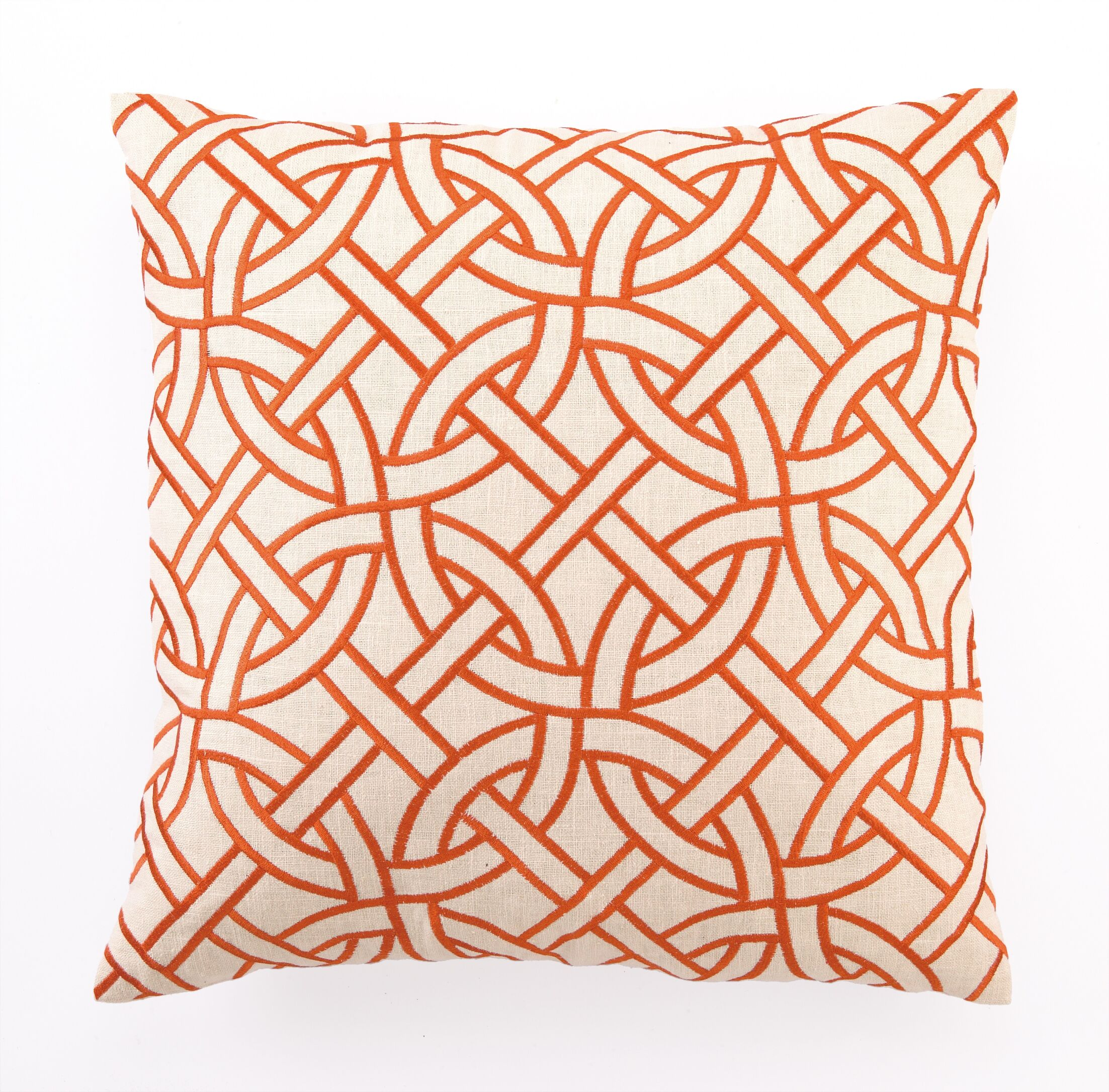 Embroidered Circle Link Linen Throw Pillow Color: Orange