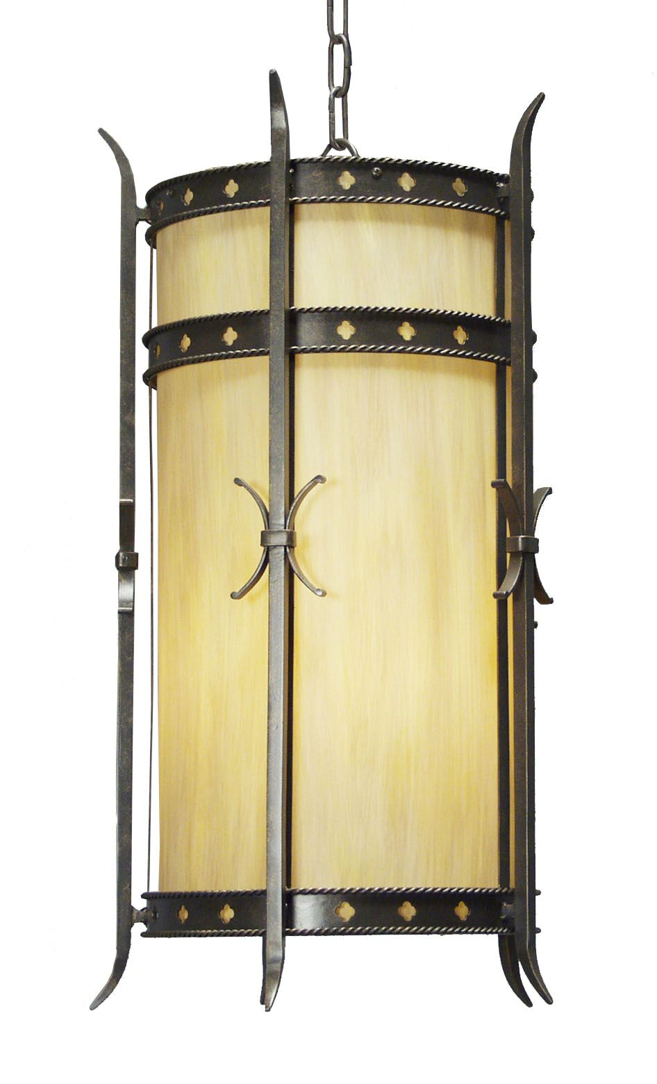 Stanza 4-Light Foyer Cylinder Finish: Antique Rust, Shade Color: Earth Marble