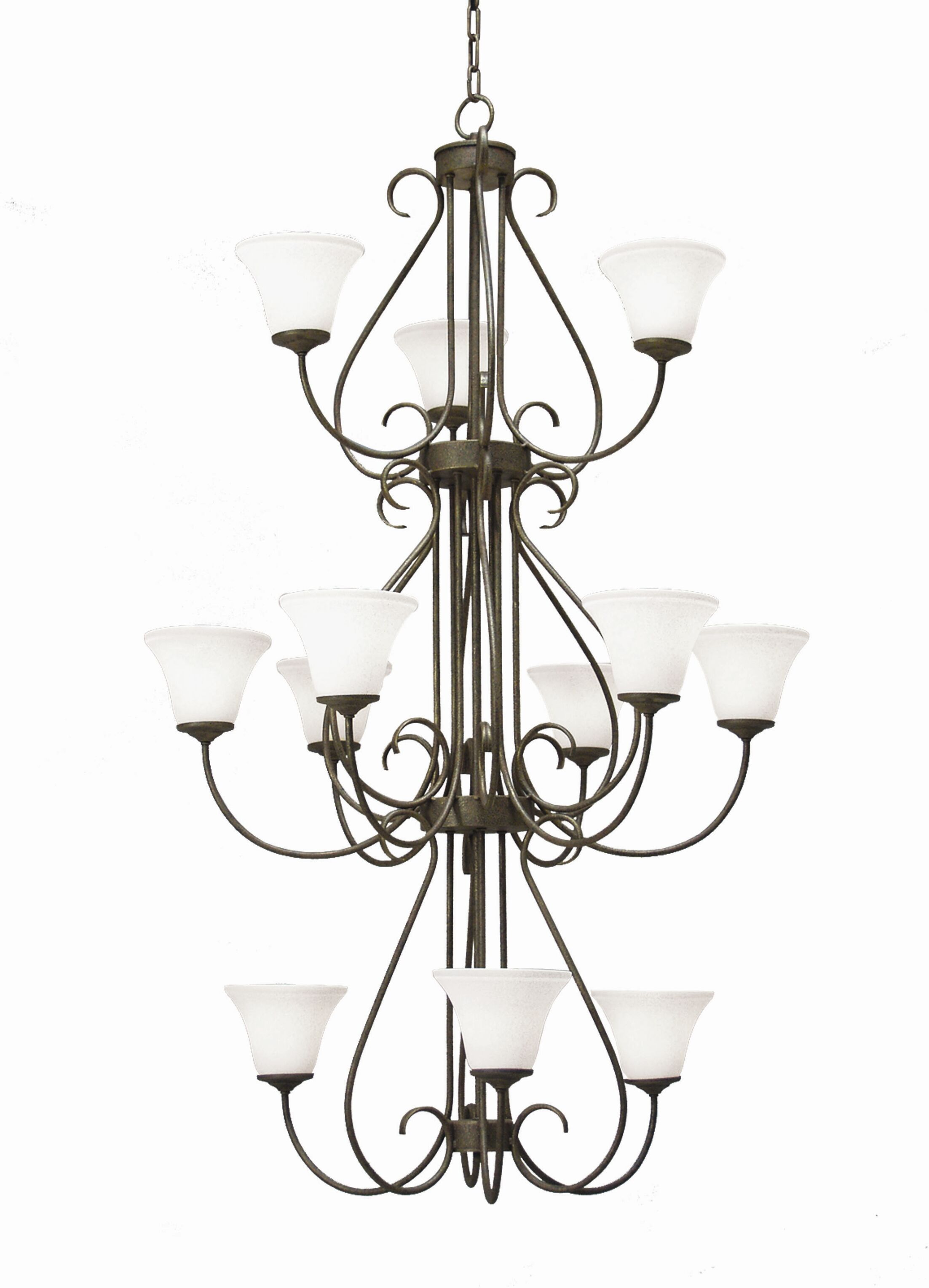 Jacqueline 12-Light Shaded Chandelier Finish: Antique Rust