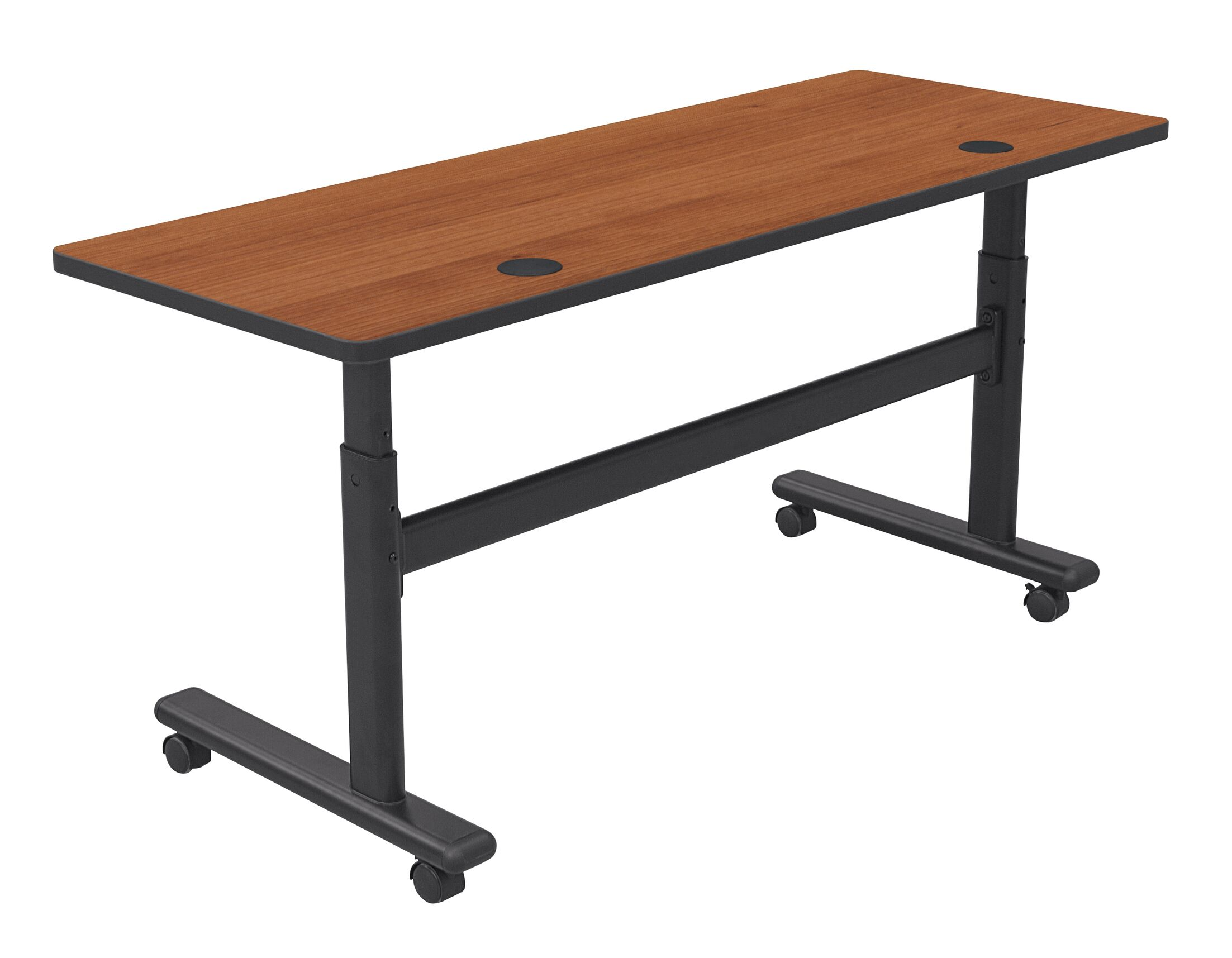 Height Adjustable Training Table with Wheels Tabletop Finish: Amber Cherry / Black, Size: 60