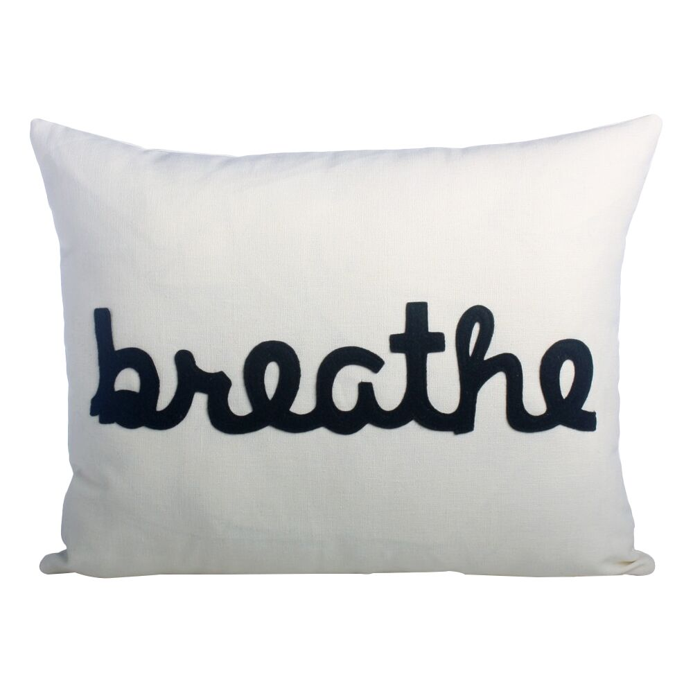 Zen Master Breathe Lumbar Pillow Color: Cream / Black Hemp and Organic Cotton