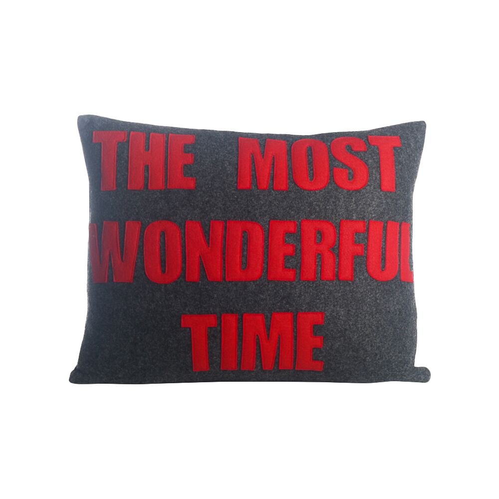 The Most Wonderful Time Felt Lumbar Pillow Color: Charcoal / Red