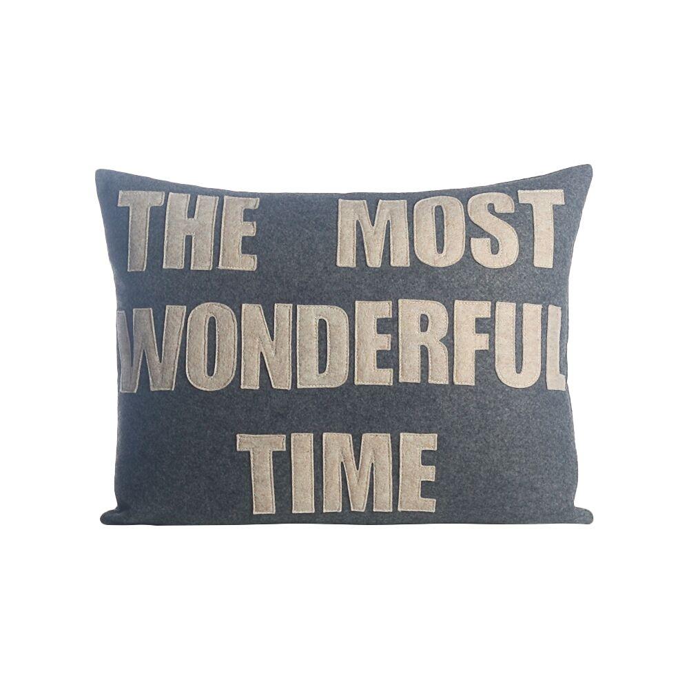 The Most Wonderful Time Felt Lumbar Pillow Color: Heather Grey / Oatmeal
