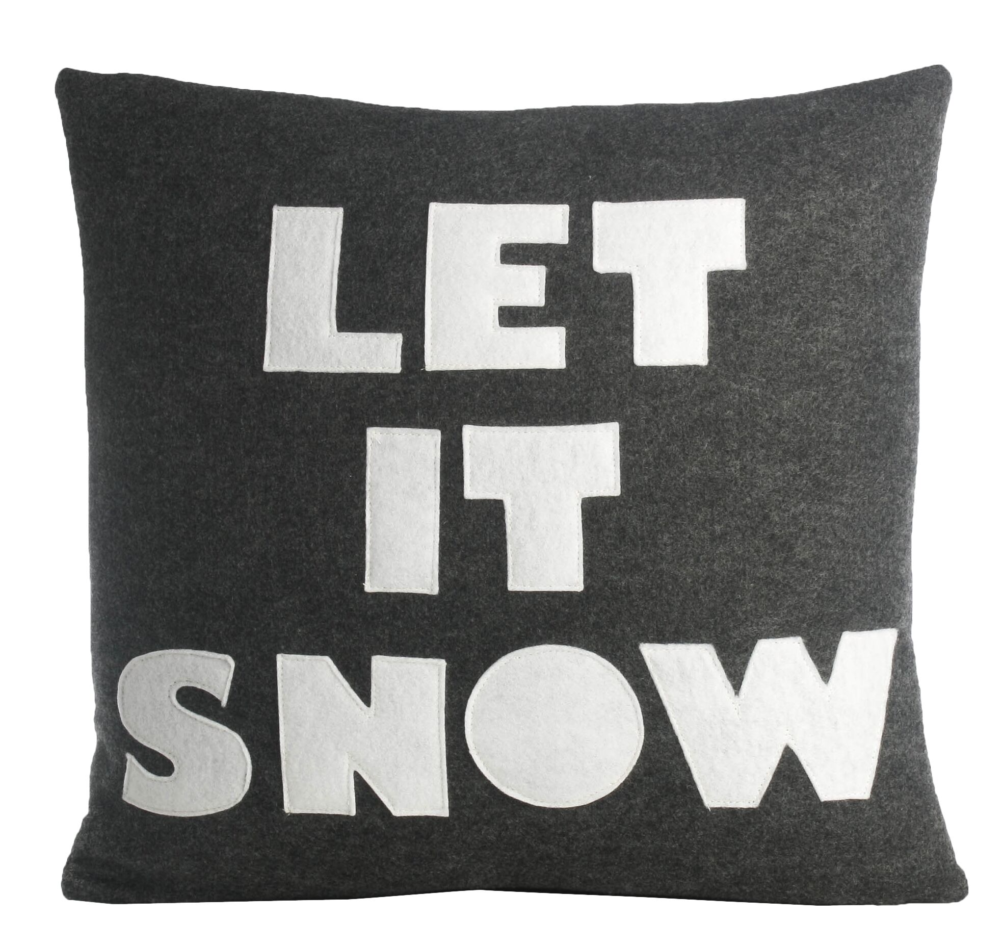 Weekend Getaway Let It Snow Throw Pillow Color: Charcoal / White Felt