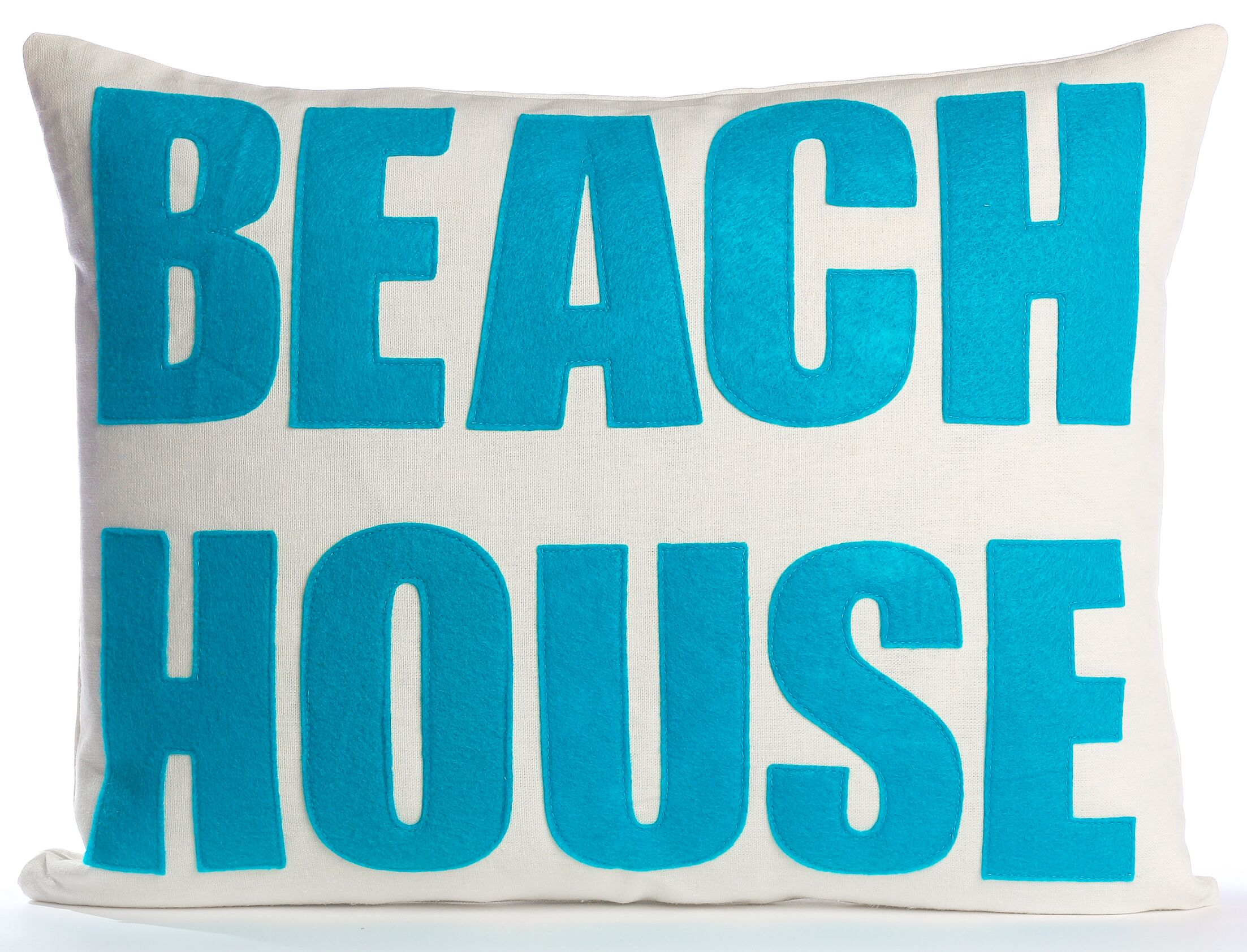 Space Defined Beach House Throw Pillow Color: Cream Canvas/Turquoise