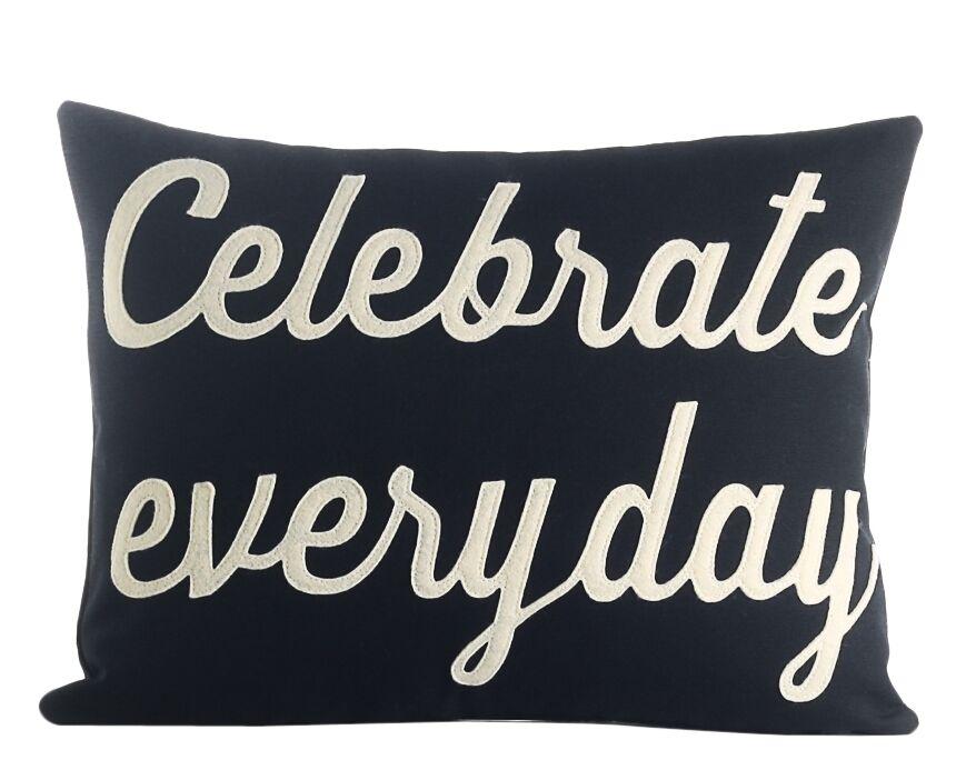Celebrate Everyday Throw Pillow Color: Navy / White