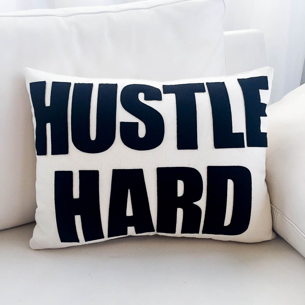 Hustle Hard Canvas Lumbar Pillow Color: Cream / Turquoise