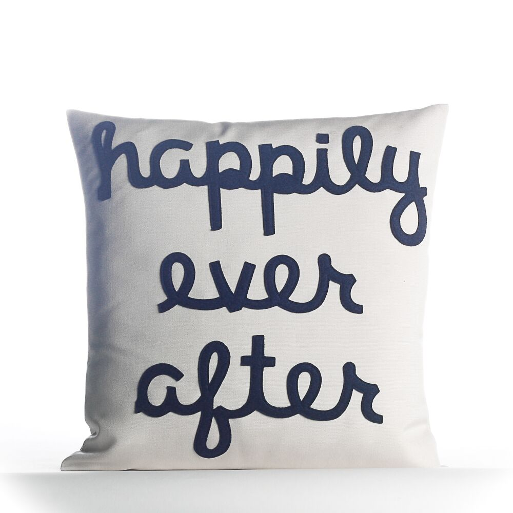 Happily Ever After Outdoor Throw Pillow Color: Porcelain / Navy