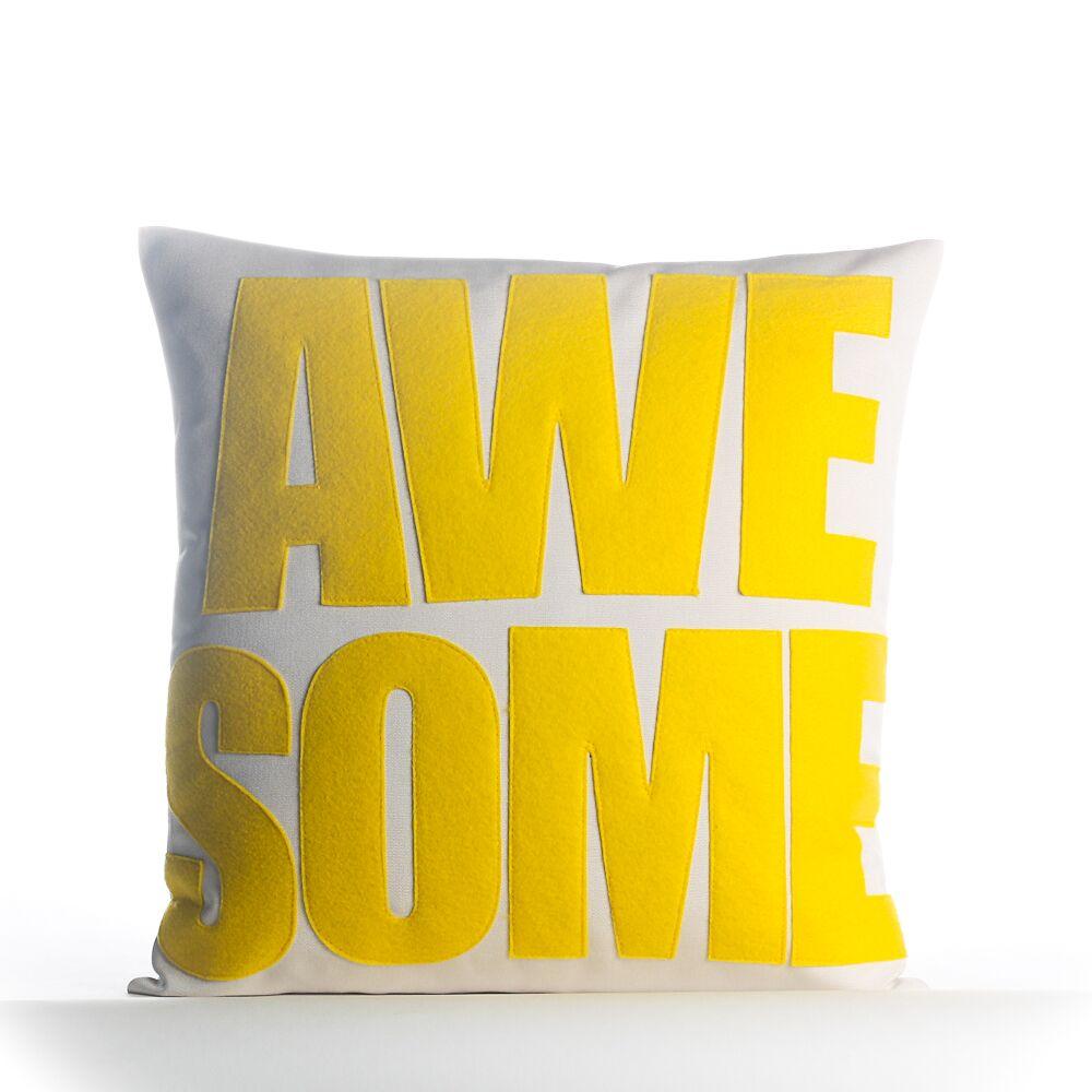Awesome Outdoor Throw Pillow Color: Poreclain / Aqua