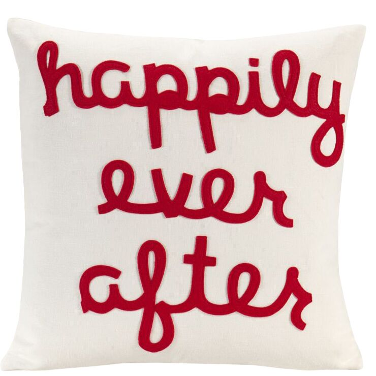 It Starts With A Kiss Happily Ever After Throw Pillow Color: Cream & Red Hemp & Organic Cotton, Size: 22