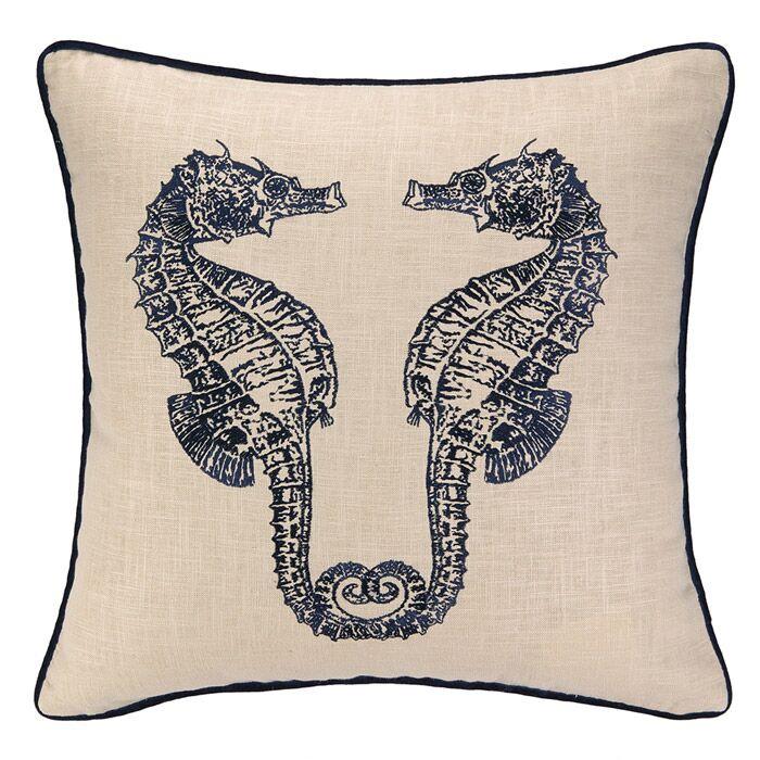 Double Seahorse Throw Pillow