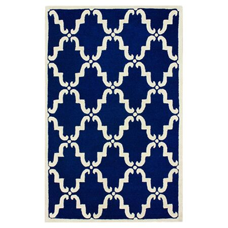 Serena Hand-Tufted Wool Blue Area Rug Rug Size: 5' x 8'