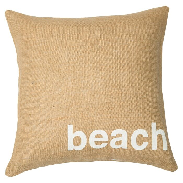 Beach Throw Pillow Color: Natural / White