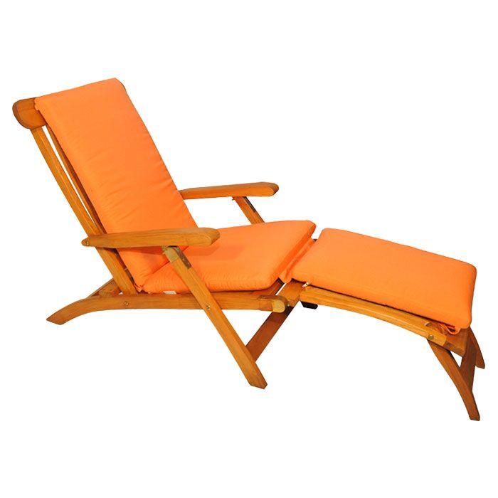 Streamer Outdoor Teak Lounger Fabric: Orange