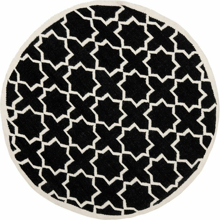 Dhurries Black Area Rug Rug Size: Rectangle 9' x 12'