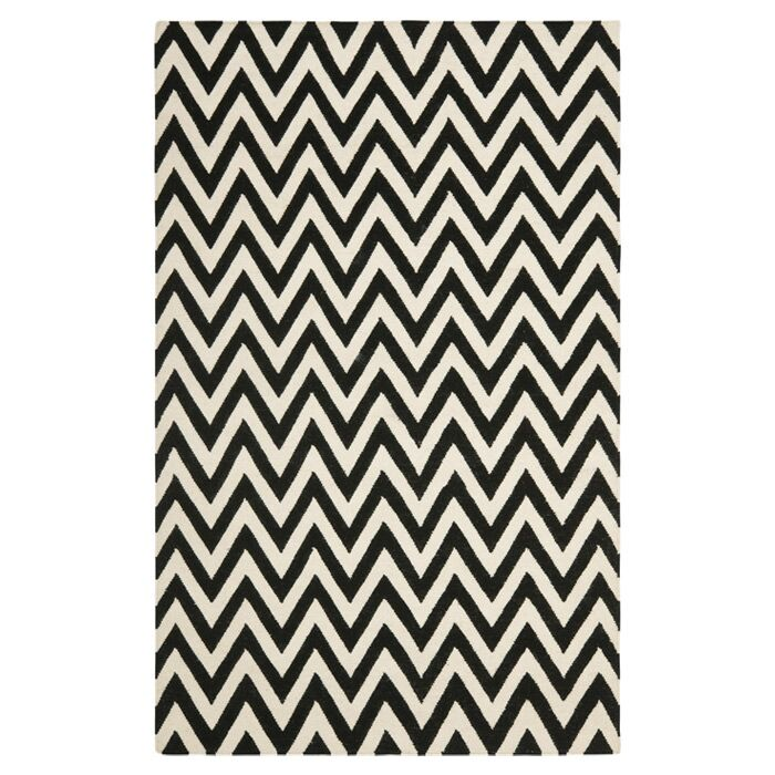 Dhurries Wool Black/Ivory Area Rug Rug Size: Rectangle 9' x 12'
