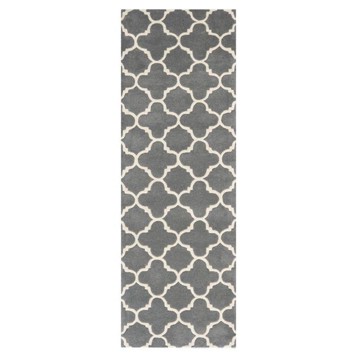 Averett Hand-Tufted Wool Dark Gray/Ivory Area Rug Rug Size: Runner 2'3