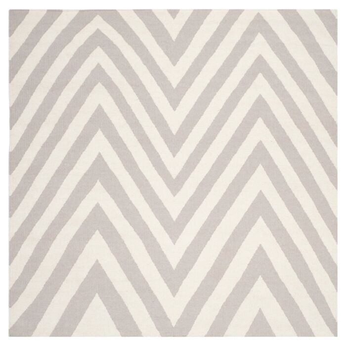 Dhurries Wool Gray/Ivory Area Rug Rug Size: Square 8'