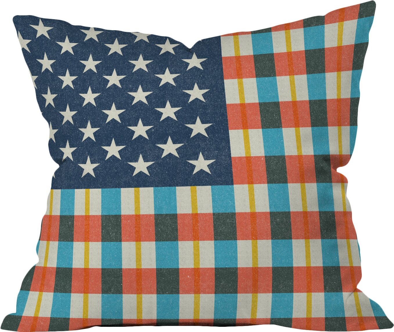 Plaid Flag Fleece Stars and Stripes Throw Pillow Size: 18