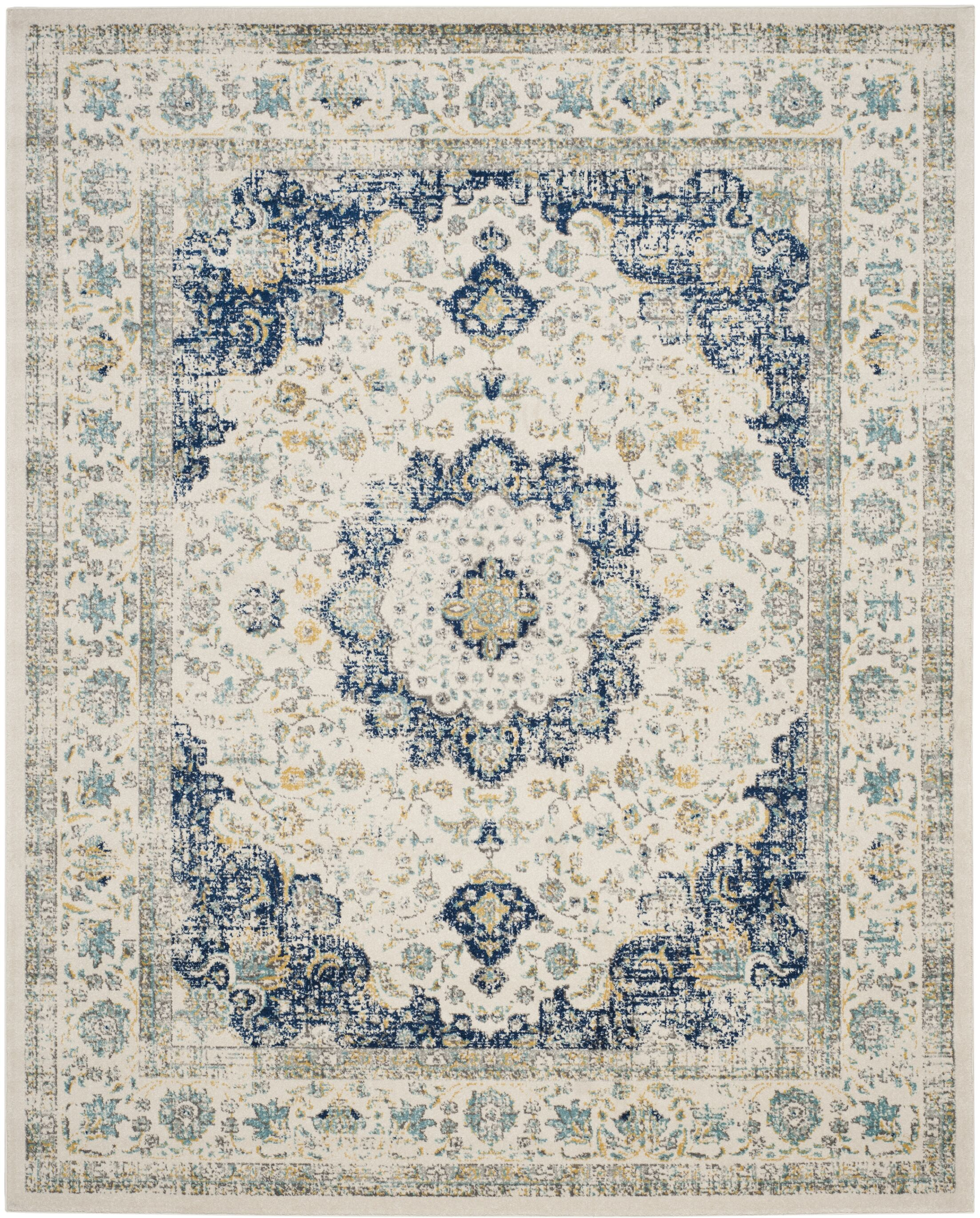 Elson Ivory & Blue Area Rug Rug Size: Rectangle 9' x 12'