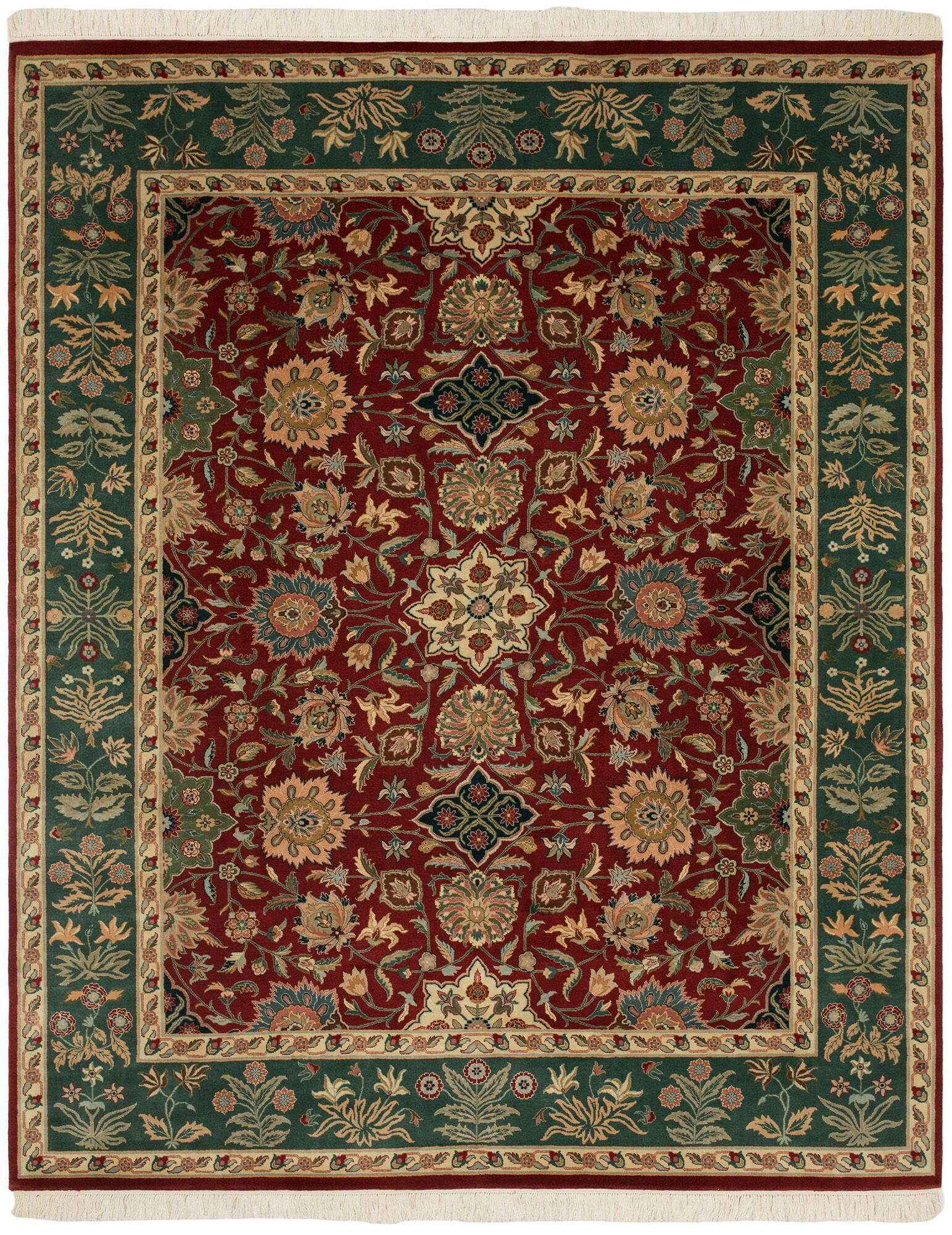 Ava Hand-Knotted Green/Red Area Rug