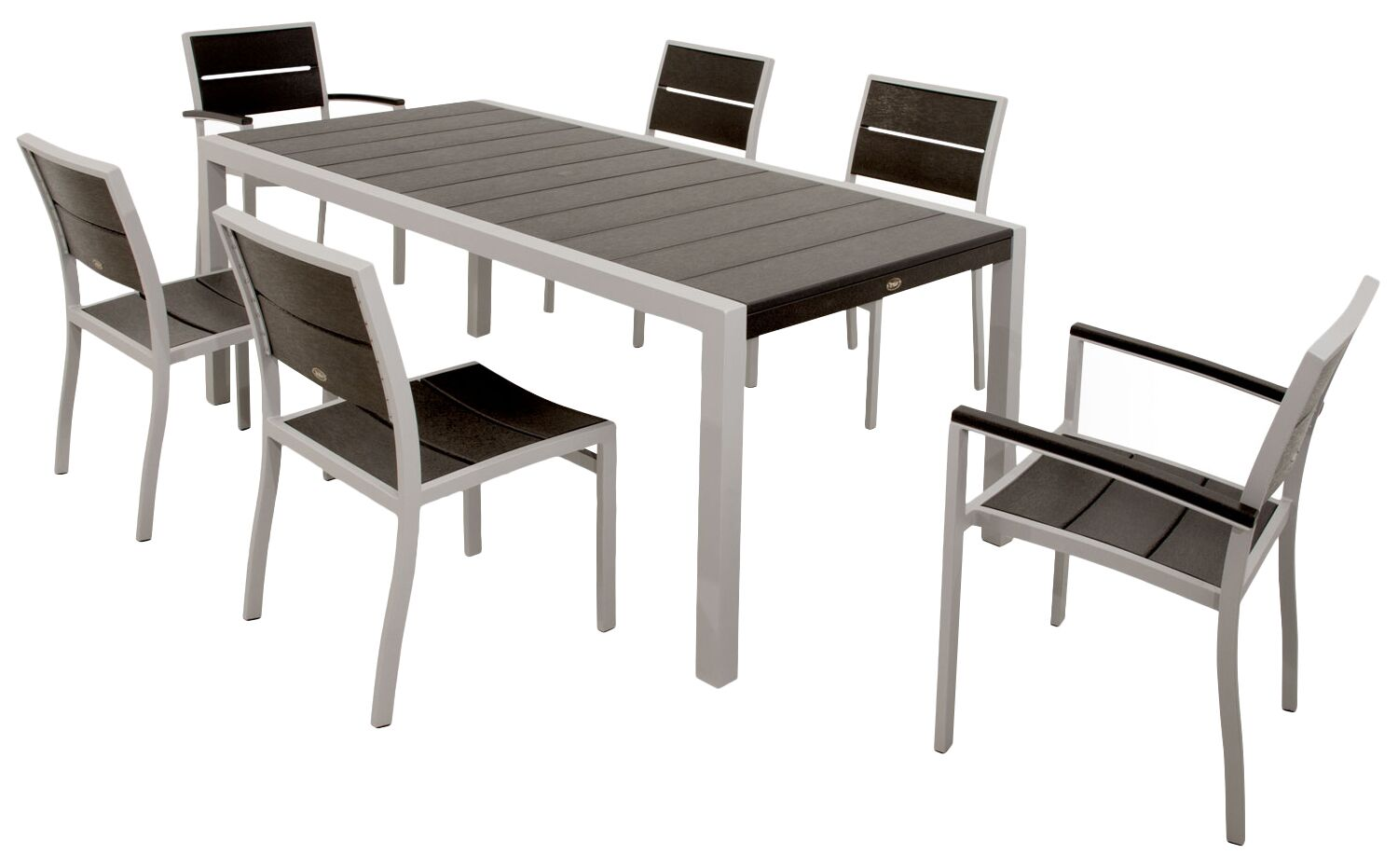 Surf City 7 Piece Dining Set Color: Textured Silver / Charcoal Black