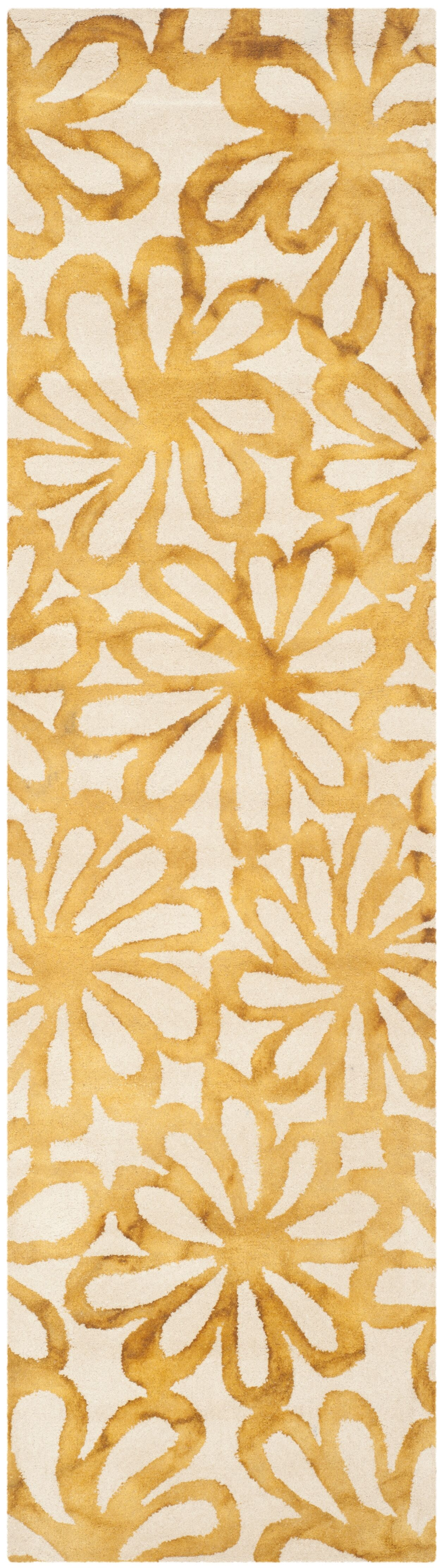 Hand-Tufted Beige & Gold Area Rug Rug Size: Runner 2'3